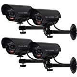 WALI Bullet Dummy Fake Surveillance Security CCTV Dome Camera Indoor Outdoor with one LED Light, Security Alert Sticker...