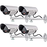 WALI Bullet Dummy Fake Surveillance Security CCTV Dome Camera Indoor Outdoor with one LED Light + Sticker Decals (TC-S4), 4...