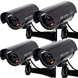 Outdoor Fake Security Camera, Dummy CCTV Surveillance System with Realistic Red Flashing Lights and Warning Sticker (4,...