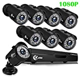 XVIM 1080P H.264 Home Wired Security Cameras System, 8CH 1080P HD DVR 8pcs 1080P 1920TVL Outdoor Indoor Waterproof...