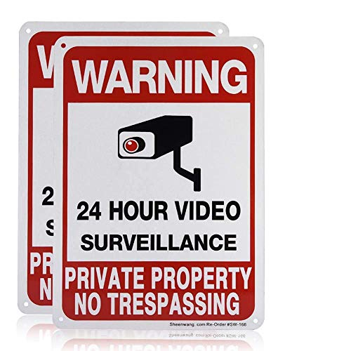 Sheenwang 2-Pack Private Property No Trespassing Sign, video surveillance signs outdoor, UV Printed .040 Mil Rust Free...