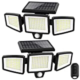 Solar Lights Outdoor,ATUPEN 210 LED 2500LM Motion Sensor Lights with Remote Control, 3 Heads Security LED Flood Lights, IP65...