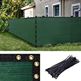 Amgo 5' x 50' Green Fence Privacy Screen Windscreen,with Bindings & Grommets, Heavy Duty for Commercial and Residential, 90%...