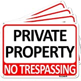 TICONN 4-Pack Private Property Sign, No Trespassing Aluminum Warning Sign, 7''x10'' for Security Alert, Reflective,...